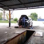 Servis Myvi : Lower Arm Kiri, Minyak Gear, Minyak Power Steering, dan Alignment.